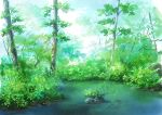 absurdres commentary dappled_sunlight day forest grass highres hirota_(masasiv3) nature no_humans original outdoors plant river scenery sunlight tree water