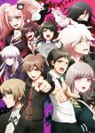 5boys 5girls :d bear_hair_ornament black_bra black_gloves black_hair black_necktie black_pants black_ribbon black_sweater blue_eyes bra breasts brown_hair brown_necktie cleavage danganronpa dress_shirt dual_persona enoshima_junko eyebrows_visible_through_hair fukawa_touko gloves green_eyes green_sweater grey_hair hair_between_eyes hair_ornament hair_ribbon highres hinata_hajime holding_scissors hood hooded_sweater index_finger_raised kamukura_izuru kirigiri_kyouko komaeda_nagito large_breasts long_hair medium_breasts monokuma monomi_(danganronpa) multiple_boys multiple_girls naegi_komaru naegi_makoto nanami_chiaki neckerchief necktie open_mouth outstretched_arm pants red_eyes red_neckerchief ribbon school_uniform shirt short_sleeves silver_hair smile sweater tongue tongue_out underwear very_long_hair white-framed_eyewear white_shirt zerusu_(gelus)