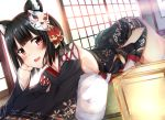 1girl :d absurdres animal_ears azur_lane bangs bare_shoulders bell black_hair black_kimono blush breasts cat_ears cat_mask detached_sleeves eyebrows eyebrows_visible_through_hair facing_away fang floor from_side hair_ribbon hand_on_own_head highres hiragi_ringo indoors japanese_clothes jingle_bell kimono long_sleeves looking_at_viewer lying mask mask_on_head medium_breasts no_bra on_stomach open_mouth red_eyes red_ribbon ribbon short_hair short_kimono sideboob smile solo straight_hair tassel tatami thigh-highs tongue white_legwear wide_sleeves yamashiro_(azur_lane)