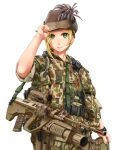1girl blonde_hair camouflage green_eyes grenade_launcher gun hat highres jpc military military_uniform original rifle smile uniform weapon white_background