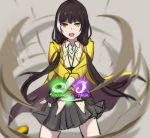 >:o 1girl :o bangs black_gloves black_hair black_skirt cowboy_shot eyebrows_visible_through_hair fingerless_gloves girls_frontline gloves heterochromia highlights lanyard legs_apart long_hair looking_at_viewer low_twintails multicolored_hair open_mouth pleated_skirt red_eyes ro635_(girls_frontline) skirt sleeves_past_elbows solo standing teeth twintails two-tone_hair white_hair xiu_jiayihuizi yellow_eyes