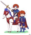2boys armor blue_eyes cape chibi closed_eyes dress eliwood_(fire_emblem) father_and_son fire_emblem fire_emblem:_fuuin_no_tsurugi fire_emblem:_rekka_no_ken fire_emblem_heroes horse kazame male_focus multiple_boys open_mouth redhead roy_(fire_emblem) short_hair simple_background smile weapon