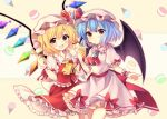 2girls :d :o ascot bat_wings black_wings blonde_hair blue_hair blush brooch commentary_request cowboy_shot crystal cup demon_wings dress drinking_glass drinking_straw eyebrows_visible_through_hair flandre_scarlet food frilled_cuffs frilled_dress frilled_ribbon frilled_shirt_collar frilled_skirt frills gem hat hat_ribbon highres holding holding_drinking_glass holding_food ice_cream jewelry looking_at_viewer macaron mob_cap multiple_girls open_mouth parted_lips pink_dress pink_hat puffy_short_sleeves puffy_sleeves red_eyes red_ribbon red_skirt red_vest remilia_scarlet ribbon ruhika sash short_hair short_sleeves siblings sisters skirt smile tareme thigh-highs touhou vest wings wrist_cuffs yellow_background