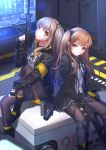 2girls brown_eyes brown_hair fingerless_gloves flashbang girls_frontline gloves gun h&k_ump heckler_&_koch highres hood hooded_jacket jacket knee_pads lancefate long_hair looking_at_viewer magazine_(weapon) multiple_girls pantyhose red_eyes scar scar_across_eye side_pontail single_knee_pad skirt smile smoke_grenade submachine_gun suppressor twintails ump45_(girls_frontline) ump9_(girls_frontline) weapon