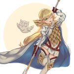 1girl armor bird blonde_hair boots braid cape closed_eyes feathered_wings feh_(fire_emblem_heroes) fire_emblem fire_emblem_heroes gloves highres long_hair low_ponytail miya_(pixiv15283026) multicolored_hair one_eye_closed owl pink_hair polearm sharena simple_background solo spear tongue tongue_out two-tone_hair weapon white_background wings