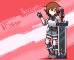 1girl armor belt boots breastplate brown_hair dungeons_and_dragons fingerless_gloves gloves hair_ornament hairclip highres ikazuchi_(kantai_collection) kantai_collection one_eye_closed raythalosm short_hair shoulder_armor solo sword weapon