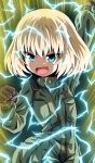 1girl absurdres arm_up aura bangs black_gloves blonde_hair blue_eyes clenched_hand commentary dragon_ball dragon_ball_z electricity eyebrows_visible_through_hair fang girls_und_panzer gloves green_jumpsuit highres insignia jumpsuit kamishima_kanon katyusha_(girls_und_panzer) long_sleeves looking_at_viewer open_mouth pravda_military_uniform short_hair skin_fang smirk smug solo standing super_saiyan super_saiyan_2 v-shaped_eyebrows