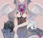 1girl angel_wings bangs bare_shoulders blue_skirt bow breasts brooch corset cowboy_shot dadachyo gradient_hair grey_hair hair_bow head_out_of_frame jewelry lace lace_trim layered_skirt light_smile long_hair multicolored_hair o-ring original ribbon skirt solo wings