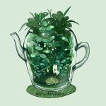 artist_name fox green green_background handle nadia_kim no_humans original plant see-through tea_plant teapot
