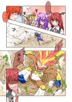 battle bisharp comic commentary_request crossover flandre_scarlet highres infernape koakuma patchouli_knowledge pokemon pokemon_(creature) remilia_scarlet shiny touhou translation_request