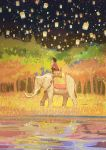 1girl barefoot black_pants colorful elephant forest gemi grass indian_elephant lake lantern nature night night_sky on_animal original pants pink_shirt reflection riding scenery shirt sitting sky solo tapestry
