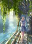 1girl aqua_eyes aqua_hair arms_behind_back bangs blouse blurry boat catwalk closed_mouth denki depth_of_field grate hatsune_miku long_hair looking_away looking_to_the_side ocean outdoors overgrown pipes plant sandals short_sleeves sidelocks skirt smile solo sunlight twintails very_long_hair vines vocaloid walking watercraft white_blouse
