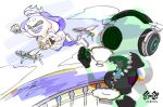 2girls black_gloves blue_hair closed_eyes clouds crop_top crown cup domino_mask drinking fangs fingerless_gloves flying flying_fish gloves headphones hime_(splatoon) iida_(splatoon) inoue_seita invisible logo mask mole mole_under_mouth multiple_girls official_art open_mouth pantyhose partially_unzipped smile splatoon splatoon_2 teacup tentacle_hair