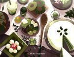 artist_name cake doughnut food fruit green nadia_kim no_humans original plate spoon strawberry