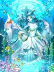 1girl bare_shoulders blue_eyes blue_hair blue_skin breasts circlet cleavage dragon_girl dragon_quest dragon_quest_x dress earrings elbow_gloves fina_(dq10) fish gloves horns hyuu_(sing-dog) jewelry long_hair necklace pointy_ears solo strapless strapless_dress underwater white_dress white_gloves