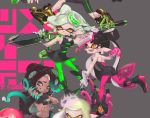 aori_(splatoon) breasts dark_skin domino_mask fangs fingerless_gloves food food_on_head gloves green_legwear hime_(splatoon) hotaru_(splatoon) iida_(splatoon) long_hair mask mole mole_under_eye mole_under_mouth object_on_head octarian open_mouth pani_spla pointy_ears short_jumpsuit siblings sisters smile splatoon splatoon_2 squidbeak_splatoon tentacle_hair zipper