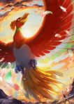 1boy bird clouds cloudy_sky commentary_request dated day feathers flying hat highres ho-oh koya10305 open_mouth outdoors pikachu pokemon pokemon_(game) running satoshi_(pokemon) signature sky spread_wings
