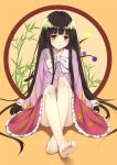 1girl bare_legs barefoot black_hair closed_mouth feet flan_(seeyouflan) full_body highres hime_cut houraisan_kaguya japanese_clothes kimono long_hair long_sleeves looking_at_viewer orange_eyes shiny shiny_hair sitting smile soles solo toes touhou very_long_hair yellow_background