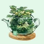 artist_name fox green green_background nadia_kim no_humans original overflowing plant see-through tea_plant teapot