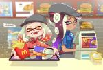 +_+ 2girls artist_name cash_register cephalopod_eyes closed_mouth crossover dark_skin employee_uniform fangs food french_fries gradient_hair green_eyes hat highres hime_(splatoon) holding holding_tray iida_(splatoon) indoors lesuna long_hair looking_at_viewer mcdonald's mole mole_under_mouth multicolored_hair multiple_girls open_mouth outstretched_arms purple_hair redhead shirt short_hair short_sleeves smile splatoon splatoon_2 standing suction_cups tentacle_hair tray uniform upper_body waitress white_hair yellow_eyes