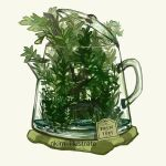 artist_name fox green handle nadia_kim no_humans original overflowing plant see-through tea_plant teapot yellow_background