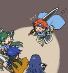 2boys 2girls armor axe blue_eyes blue_hair cape chibi closed_eyes collarbone cosplay durandal_(fire_emblem) eliwood_(fire_emblem) eliwood_(fire_emblem)_(cosplay) fire_emblem fire_emblem:_fuuin_no_tsurugi fire_emblem:_kakusei fire_emblem:_rekka_no_ken fire_emblem:_souen_no_kiseki fire_emblem_heroes greil greil_(cosplay) headband holding holding_weapon ike kita_senri long_hair lucina lyndis_(fire_emblem) multiple_boys multiple_girls redhead roy_(fire_emblem) short_hair smile sword tiara very_long_hair weapon