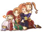 4girls ;d barbara bare_shoulders belt black_dress blonde_hair blue_eyes braid breasts brown_hair brown_shoes collarbone dragon_quest dragon_quest_vi dragon_quest_vii dragon_quest_viii dragon_quest_xi dress earrings gloves green_eyes grin highres jessica_albert jewelry large_breasts layered_dress long_hair looking_at_viewer magic maribel_(dq7) multicolored multicolored_eyes multiple_girls one_eye_closed open_mouth orange_eyes orange_hair ponytail purple_shirt red_dress red_eyes red_skirt sharp_teeth shirt shoes sitting skirt smile teeth twin_braids twintails v veronica_(dq11) violet_eyes white_background white_dress yellow_gloves zatou_(kirsakizato)