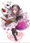 1girl ace_of_hearts alice_in_wonderland bangs beret black_boots black_dress black_gloves black_hat black_legwear black_ribbon blue_rose book boots buttons card checkerboard_cookie cookie dress eyebrows_visible_through_hair fate/extra fate/grand_order fate_(series) flower food frilled_dress frilled_shirt_collar frilled_sleeves frills full_body fur-trimmed_boots fur_trim gloves gothic_lolita gradient_hair grey_hair hair_ribbon hat hat_ribbon layered_dress lolita_fashion long_hair long_sleeves looking_at_viewer multicolored multicolored_hair multicolored_ribbon nursery_rhyme_(fate/extra) pantyhose pink_eyes pink_hair pink_ribbon playing_card red_rose ribbon rose silver_hair simple_background solo sorao_(ichhimo) spoon star striped striped_ribbon sugar_cube very_long_hair white_background