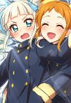 2girls :d absurdres aikatsu! arisugawa_otome bangs blue_coat blue_eyes blunt_bangs blush character_request closed_eyes coat d:< drill_hair eyebrows_visible_through_hair fang hands_in_pockets highres hug hug_from_behind long_sleeves looking_at_another multiple_girls open_mouth orange_hair sekina smile sweatdrop toudou_yurika twin_drills wavy_mouth white_hair winter_clothes winter_coat