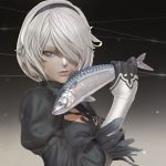 3d animal_request black_hairband blue_eyes cleavage_cutout feather-trimmed_sleeves fish fish_request gloves gradient gradient_background hairband leslyzerosix lips nier_(series) nier_automata no_blindfold parted_lips short_hair silver_hair solo white_hair yorha_no._2_type_b