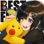 1girl black_hair bob_cut cross cross_earrings earrings hair_ornament hairclip hug jewelry one_eye_closed original pikachu pokemon short_hair shunga_(shun608) violet_eyes