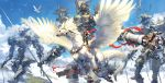 1girl armor blue_sky breastplate dragon epic fantasy feathered_wings flying helmet highres mecha original polearm red_scarf riding scarf sky spear takayama_toshiaki weapon wings