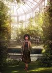 1girl bangs black_dress black_hair blush bob_cut brown_eyes day dress greenhouse highres holding jacket light_smile lm7_(op-center) looking_at_viewer open_clothes open_jacket original plant scenery shoes sneakers solo standing sunlight violet_eyes