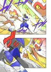battle bisharp comic commentary_request fire highres infernape noel_(noel-gunso) pokemon pokemon_(creature)