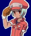 1girl cabbie_hat cosplay gloves green_hair hat jacket looking_at_viewer muu_(mumumer) red_eyes red_jacket rockman rockman_dash rockman_dash_3 roll_caskett sera_(rockman_dash) short_hair solo