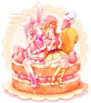 2girls animal_ears arisugawa_himari boots brown_eyes brown_hair cake_hair_ornament cure_custard cure_whip elbow_gloves food food_themed_hair_ornament fruit gloves hair_ornament highres kirakira_precure_a_la_mode long_hair looking_at_viewer magical_girl multiple_girls pekorin_(precure) piano_(mymel0v) pink_boots pink_eyes pink_hair precure rabbit_ears sitting smile squirrel_ears squirrel_tail strawberry strawberry_shortcake tail twintails usami_ichika v white_gloves