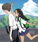 1boy 1girl 774_(nanashi) :d backpack bag belt black_hair black_pants blue_skirt blue_sky blurry blurry_background blush breasts brown_eyes brown_hair clouds cloudy_sky commentary_request dark_skin day dress_shirt from_side glasses hair_ornament hairclip hand_up heavy_breathing long_hair medium_breasts nagatoro open_mouth original outdoors pants pleated_skirt profile shirt short_sleeves shoulder_bag skirt sky smile standing standing_on_one_leg sweat walking wavy_mouth white_shirt