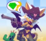 1girl alternate_costume bat_wings belt breasts chaps cleavage covered_nipples cowboy cowboy_hat final_fantasy gloves green_eyes gun handgun hat holster nancher neckerchief rope rouge_the_bat sabotender short_shorts shorts sonic_the_hedgehog thigh_holster weapon western wings