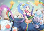 1girl blue_hair blush breasts cleavage closed_mouth collarbone dakun hair_ornament hairclip jewelry large_breasts league_of_legends long_hair looking_at_viewer navel necklace smile solo sona_buvelle star star_hair_ornament twintails violet_eyes