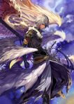 1boy absurdres arcseraph_lucifer armor black_gloves blue_eyes derivative_work gloves highres male_focus profile rusk shadowverse sheath sheathed silver_hair solo standing sword weapon wings