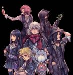 1girl 4boys bandanna blaine_(kingdom_hearts) brown_hair chirithy cloak ephemer_(kingdom_hearts) flower hat highres hood jacket kingdom_hearts kingdom_hearts_unchained_x lauriam looking_at_viewer multiple_boys nomura_tetsuya official_art pink_hair plant scarf skuld_(kingdom_hearts) smile spiky_hair square_enix v-neck ventus