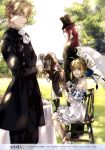 1girl 3boys absurdres artoria_pendragon_(all) blonde_hair braid dress fate/extra fate/grand_order fate/stay_night fate_(series) formal french_braid gawain_(fate/extra) grass hat highres horse lancelot_(fate/grand_order) long_hair multiple_boys off_shoulder official_art parasol purple_hair redhead saber sitting suit table takarai_rihito top_hat tristan_(fate/grand_order) umbrella white_dress