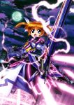 1girl absurdres armor armored_dress black_gloves brown_hair eyebrows_visible_through_hair fingerless_gloves full_moon gloves hair_ribbon highres holding holding_weapon lyrical_nanoha magic_circle mahou_shoujo_lyrical_nanoha moon night open_mouth outdoors ribbon sakata_osamu short_hair solo standing takamachi_nanoha twintails violet_eyes weapon white_ribbon