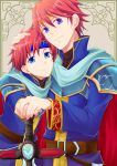 2boys armor blue_eyes cape cosplay durandal_(fire_emblem) eliwood_(fire_emblem) eliwood_(fire_emblem)_(cosplay) fire_emblem fire_emblem:_fuuin_no_tsurugi fire_emblem:_rekka_no_ken fire_emblem_heroes headband highres holding holding_weapon male_focus miyakoji multiple_boys official_art redhead roy_(fire_emblem) short_hair smile solo sword weapon
