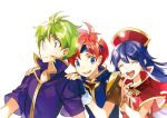 1girl 2boys armor blue_hair cape dress fire_emblem fire_emblem:_fuuin_no_tsurugi gloves hairband hat jewelry lilina long_hair multiple_boys noki_(affabile) open_mouth redhead roy_(fire_emblem) short_hair simple_background smile