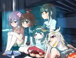 4girls alternate_hairstyle barefoot black_hair blonde_hair box brown_hair casual character_doll chips food fubuki_(kantai_collection) fusou_(kantai_collection) green_eyes hair_bobbles hair_ornament hairclip jacket kantai_collection kisaragi_(kantai_collection) long_hair mouth_hold multiple_girls mutsuki_(kantai_collection) potato_chips red_eyes sitting television topknot v_r_dragon01 watching watching_television yuudachi_(kantai_collection)