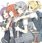 4girls ahoge arashi_(kantai_collection) blonde_hair blue_eyes book cannon check_commentary closed_eyes commentary_request gloves green_hair grin hagikaze_(kantai_collection) hug hug_from_behind kantai_collection maikaze_(kantai_collection) multiple_girls neck_ribbon neckerchief ninimo_nimo nowaki_(kantai_collection) open_mouth pleated_skirt purple_hair red_eyes redhead ribbon rigging school_uniform searchlight short_hair short_ponytail simple_background skirt smile torpedo_tubes vest white_background white_gloves