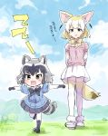 >:o 2girls :o age_difference animal_ears arms_behind_back artist_name black_skirt blonde_hair blue_sky bow bowtie clouds commentary common_raccoon_(kemono_friends) day fang fennec_(kemono_friends) fox_ears fox_tail grey_hair height_difference kemono_friends multicolored_hair multiple_girls open_mouth outdoors outstretched_arms raccoon_ears raccoon_tail running shinoasa short_hair skirt sky spread_arms tail thigh-highs translation_request twitter_username walking white_hair white_skirt younger