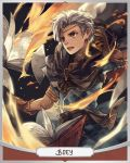 1boy anocurry artist_name boey_(fire_emblem) book brown_eyes cape character_name circlet dark_skin fire fire_emblem fire_emblem_echoes:_mou_hitori_no_eiyuuou gloves male_focus open_mouth solo teeth upper_body white_hair