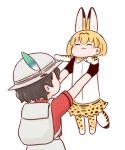 2girls :3 animal_ears backpack bag batta_(ijigen_debris) black_hair blonde_hair blush carrying closed_eyes commentary gloves hat hat_feather holding_up kaban_(kemono_friends) kemono_friends longcat meme multiple_girls serval_(kemono_friends) serval_ears serval_print serval_tail short_hair simple_background tail thigh-highs white_background